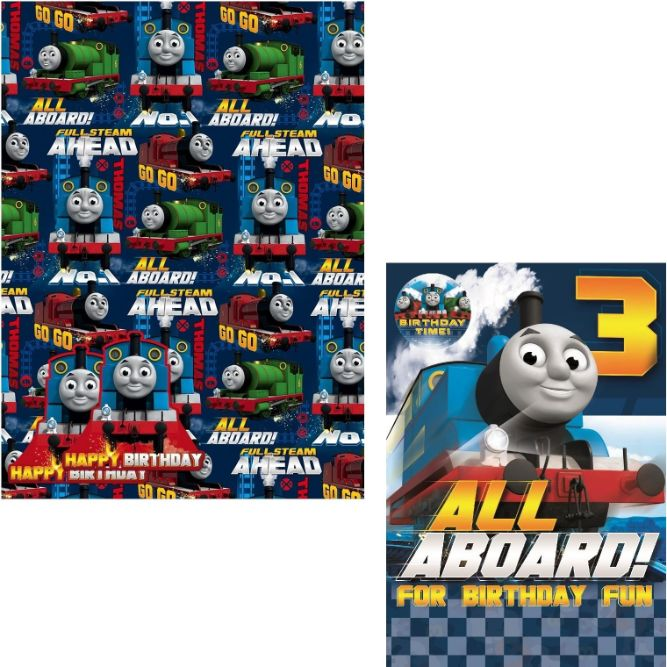 Thomas And Friends Giftwrap Gift Tags Age 3 Happy Birthday Card