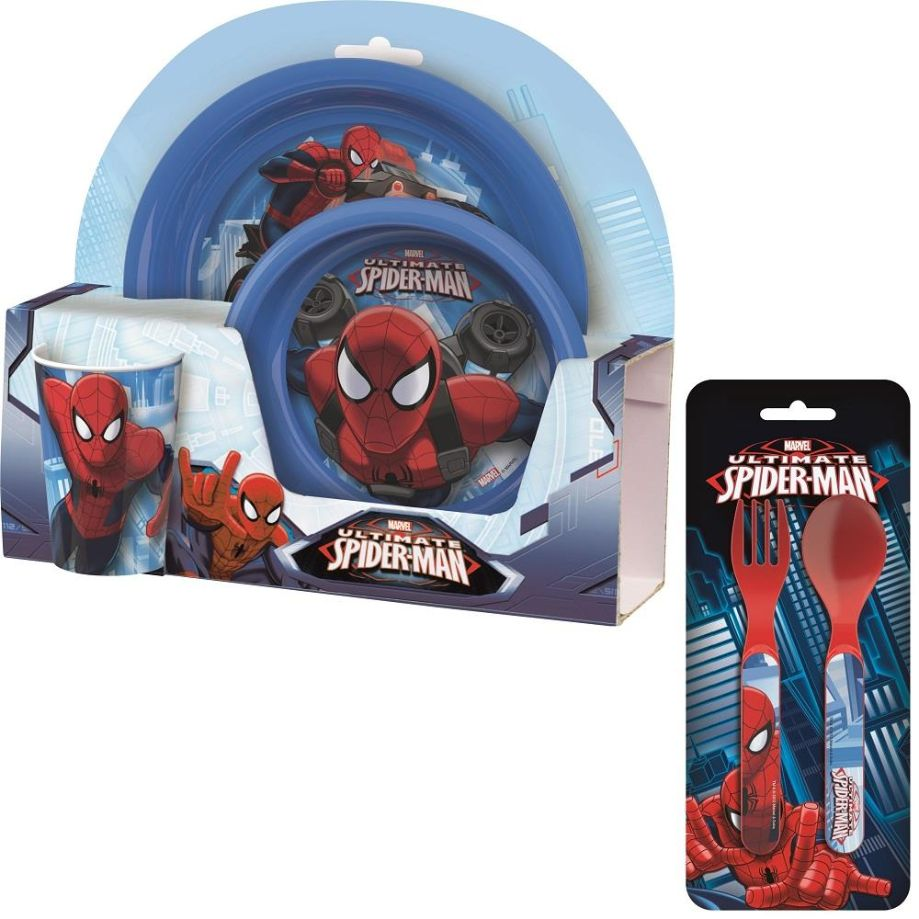 Spiderman Mealtime Tumbler, Bowl, Plate and Cutlery Kit