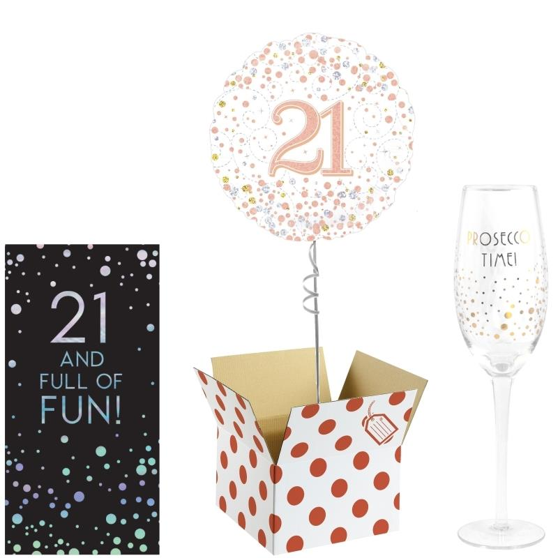 21st Birthday Balloon, Prosecco Glass and Chocolate Gift Bundle (Rose Gold)