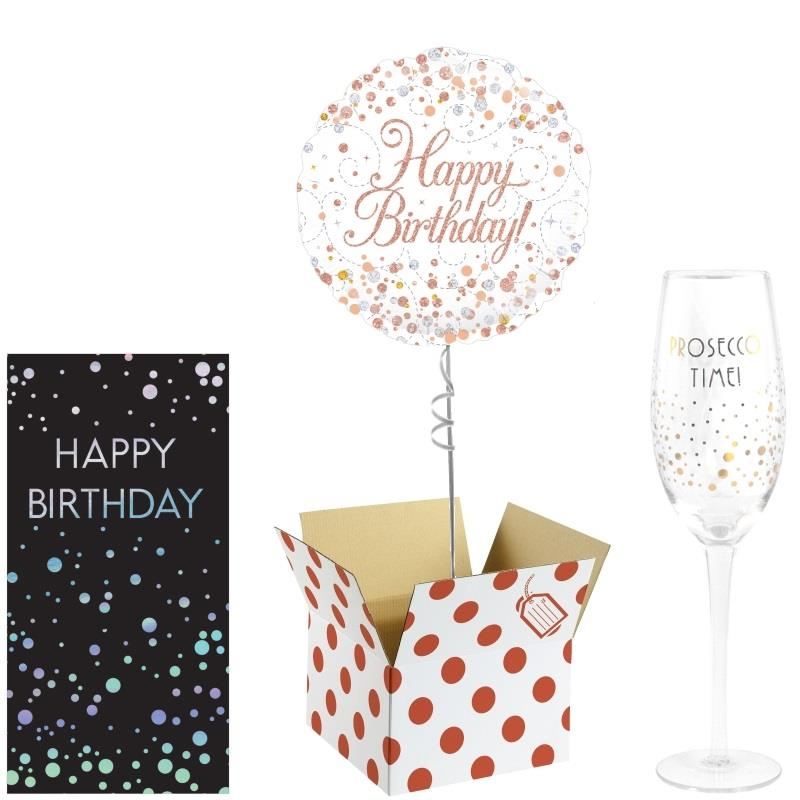 Happy Birthday Balloon, Prosecco Glass and Chocolate Gift Bundle (Rose Gold)