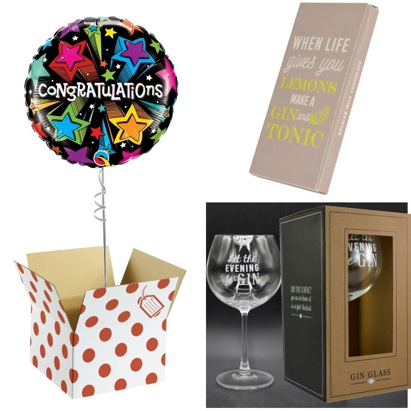 Congratulations Balloon, Evening be Gin Goblet Glass and Chocolate Gift Bundle (Multi-Coloured Stars)