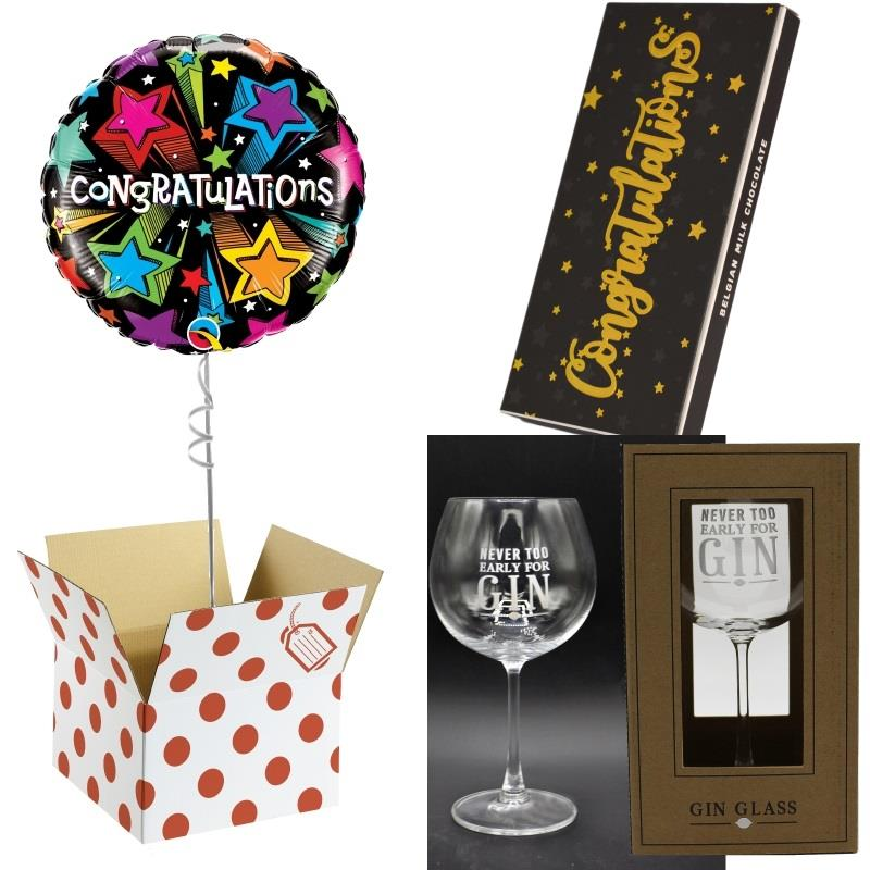 Congratulations Balloon, Never too Early Gin Goblet Glass and Chocolate Gift Bundle (Multi-Coloured Stars)