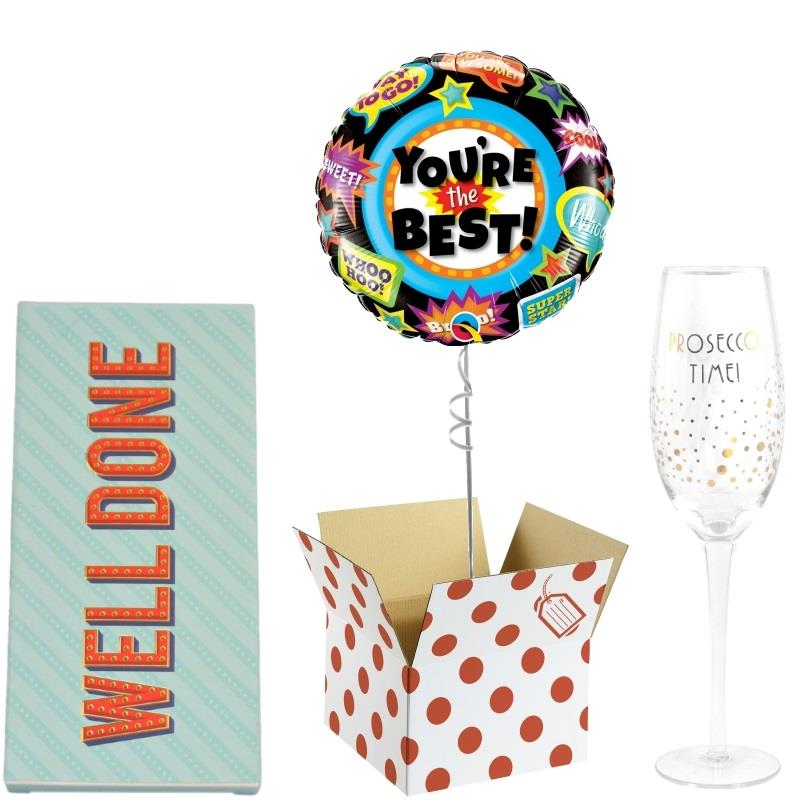 Congratulations Balloon, Evening be Gin Goblet Glass and Chocolate Gift Bundle (Holographic)