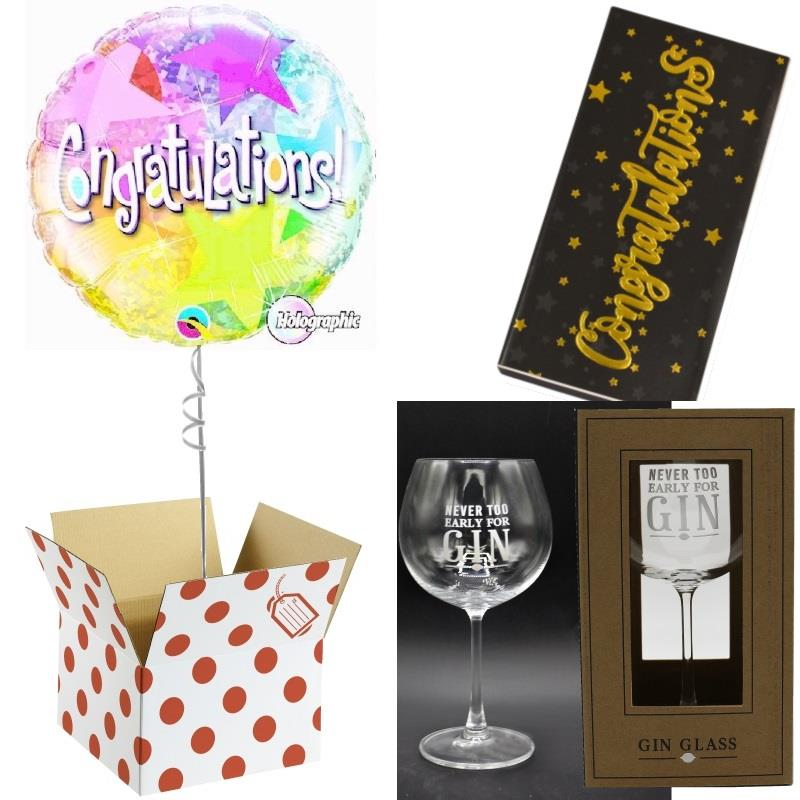 Congratulations Balloon, Never too Early Gin Goblet Glass and Chocolate Gift Bundle (Holographic)