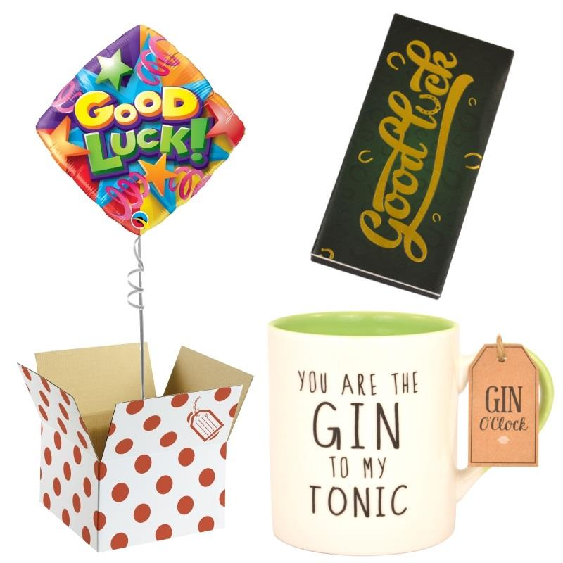 Good Luck Balloon, Gin to my Tonic Mug and Chocolate Gift Bundle (Stars)