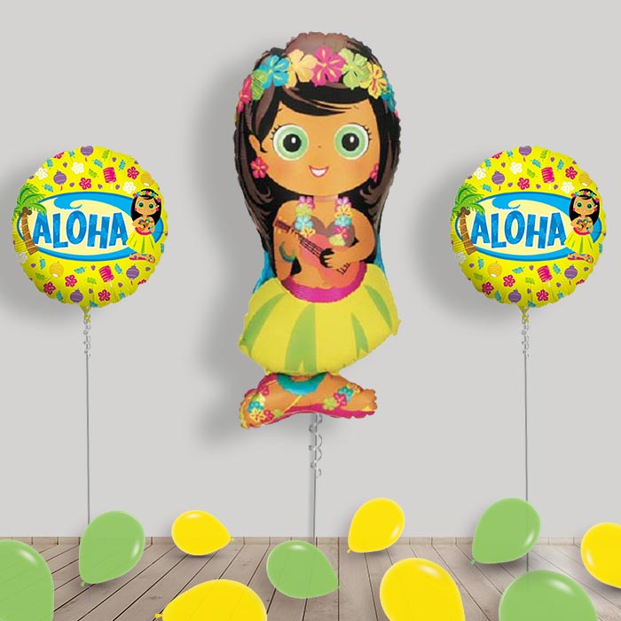 Inflated Hula Girl Helium Balloon Package in a Box