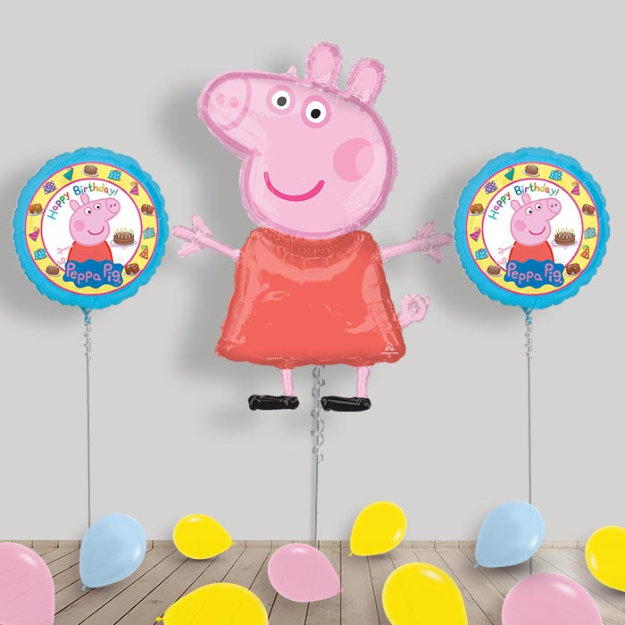 Inflated Peppa Pig Helium Balloon Package in a Box