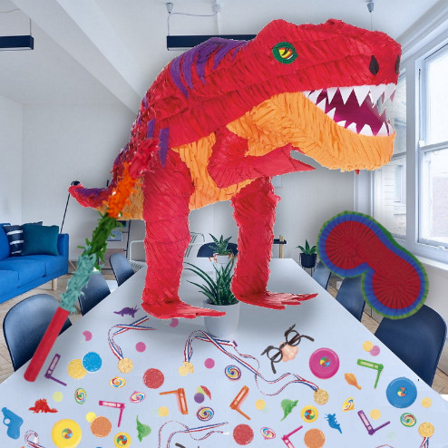 Dinosaur T-Rex Pinata Party Kit with Sweets, Favours and Confetti