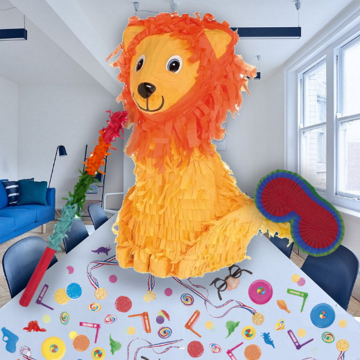 Lion Pinata Party Kit with Sweets, Favours and Confetti