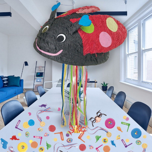 Ladybird Pull Pinata Party Kit with Sweets, Favours and Confetti