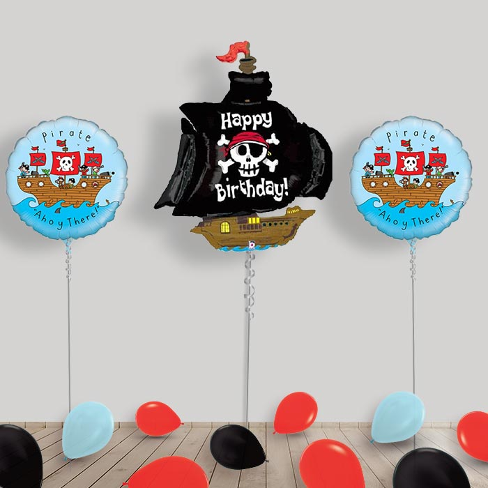 Inflated Pirate Ship Helium Balloon Package in a Box