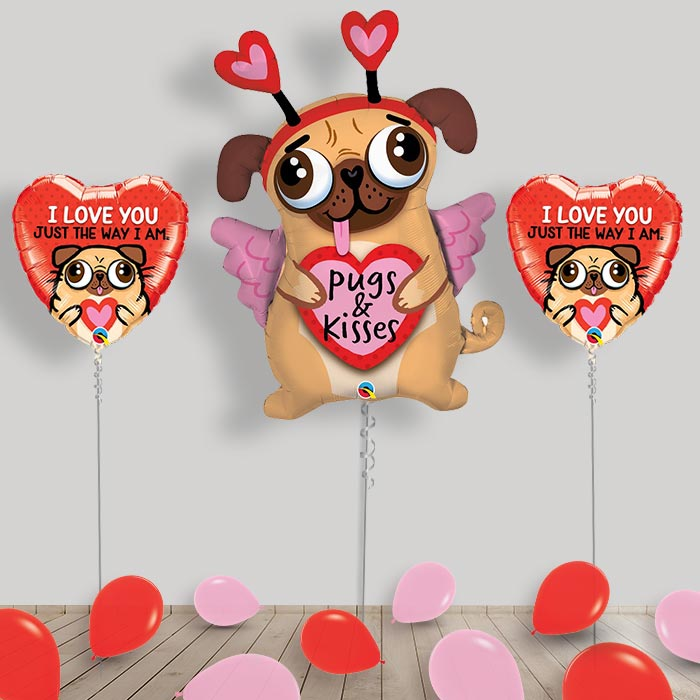 Inflated Pug and Kisses | Puppy Helium Balloon Package in a Box