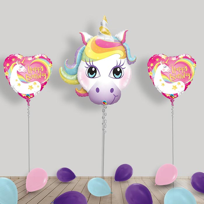 Inflated Unicorn Helium Balloon Package in a Box
