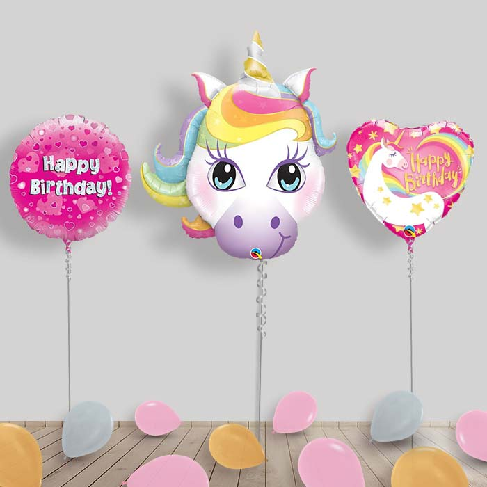 Inflated Unicorn Birthday Helium Balloon Package in a Box