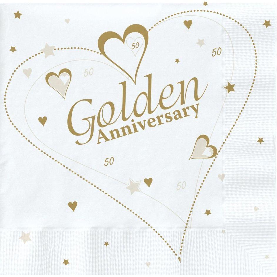 Golden Wedding Anniversary.Golden Wedding Anniversary Party Napkins Serviettes