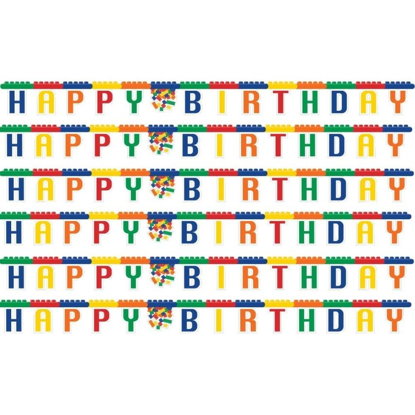 block brick party happy birthday letter banner decoration