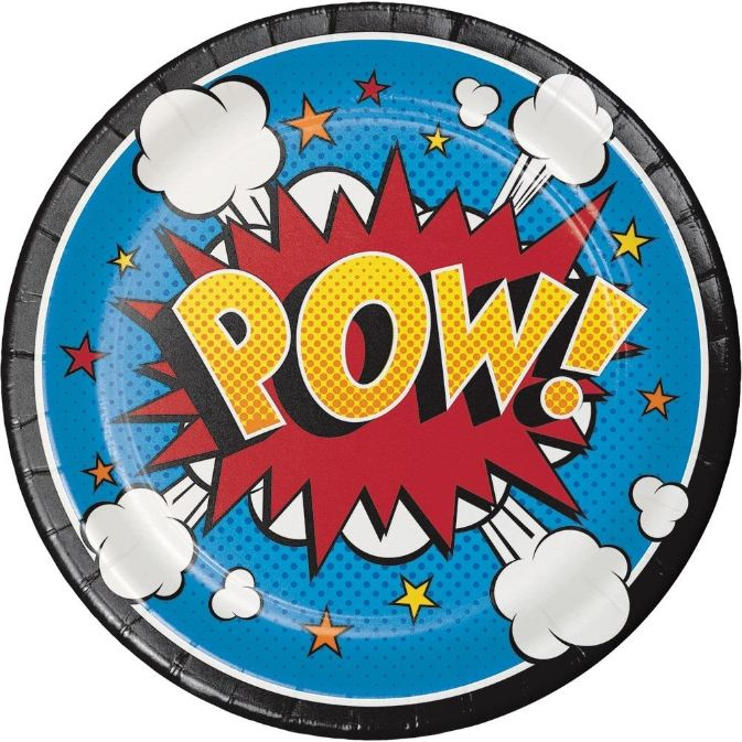 Superhero Slogans Cartoon Party Dessert Cake Plates