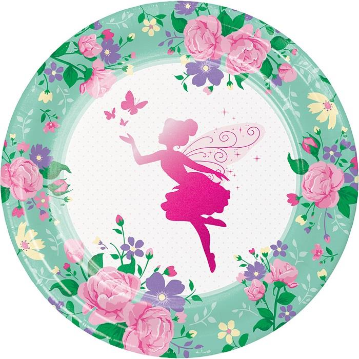 Floral Fairy Sparkle Party 23cm Party Plates