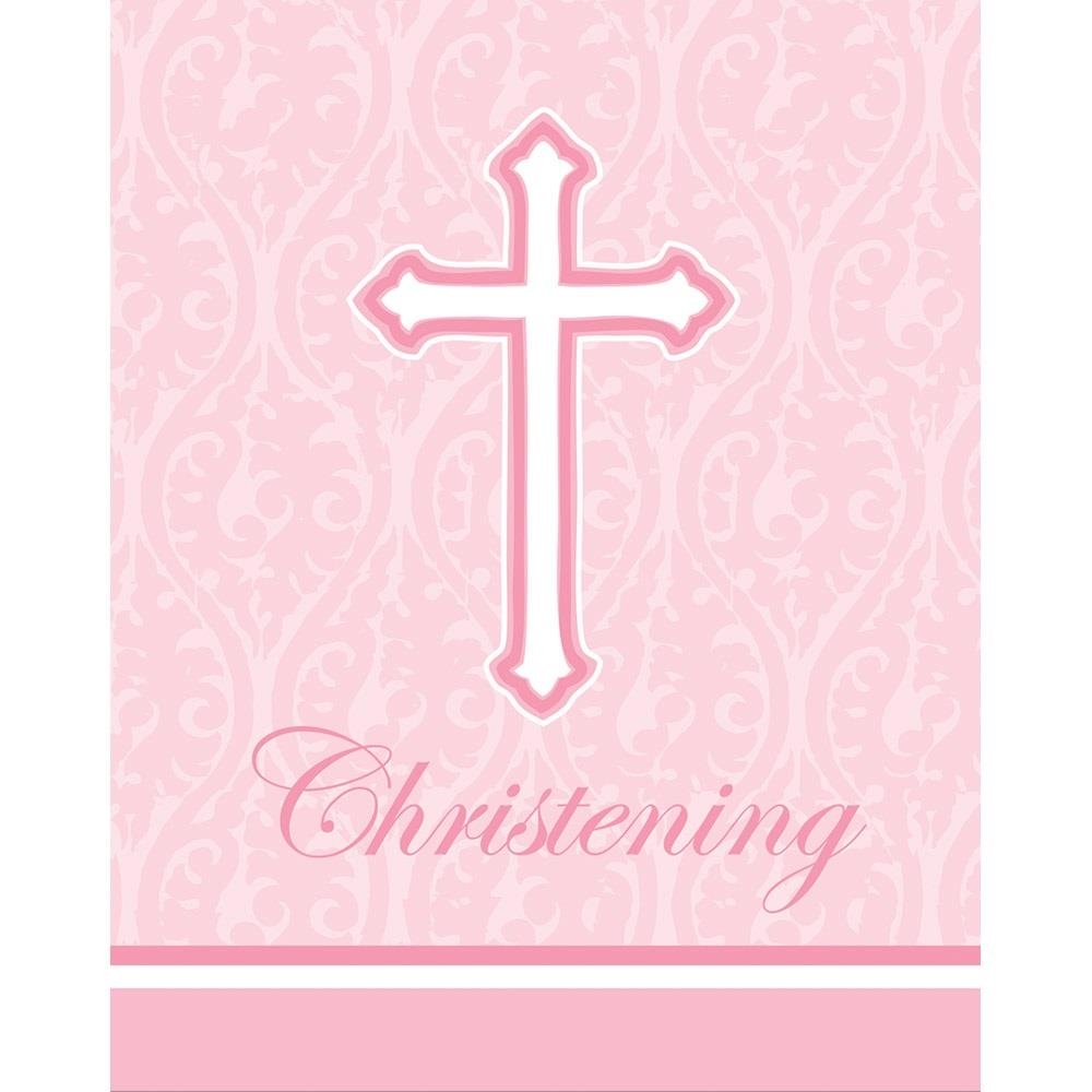 Pink Cross Christening Party Invitations | Invites