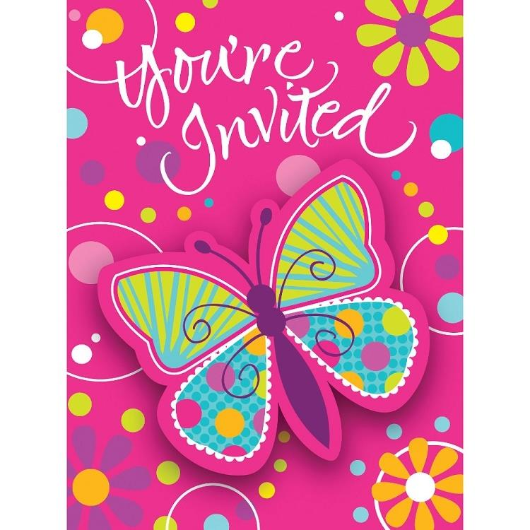 Butterfly Sparkle Party Invitations | Invites with Envelopes