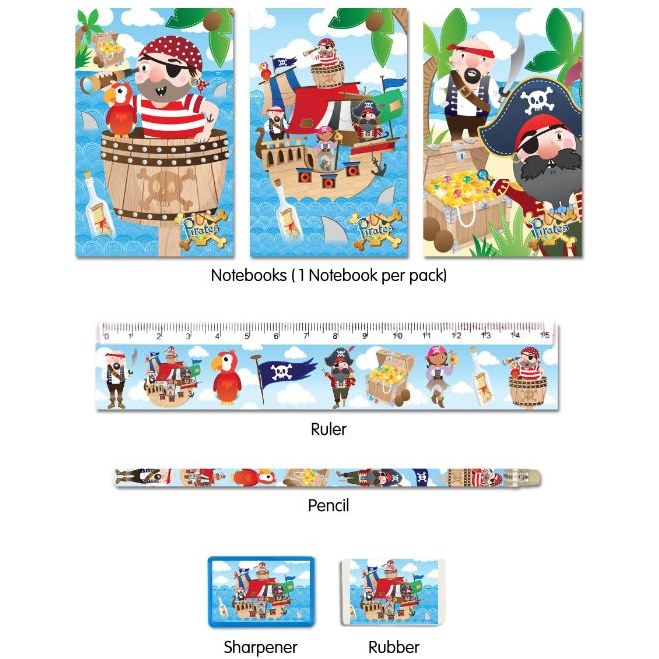 Kids Party Bag fillers 5pc Stationary Sets Football Mermaid Pony Princess Jungle Party Supplies Party Bag Supplies