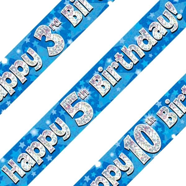Blue Star Happy Birthday Age 1-16 Foil Banner - Choose your Age
