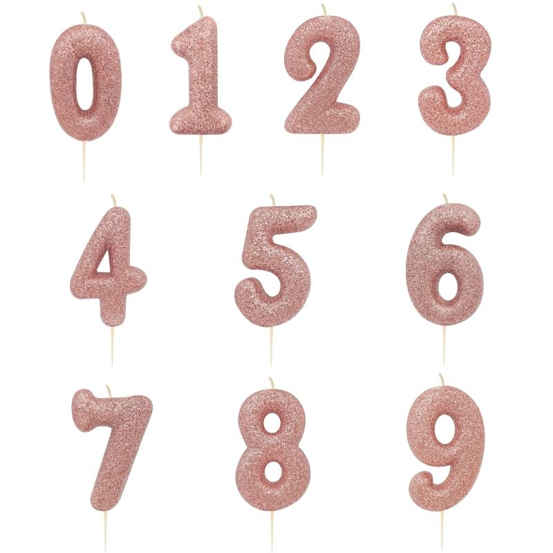 Rose Gold Glitter Number 0 9 Birthday Cake Candle