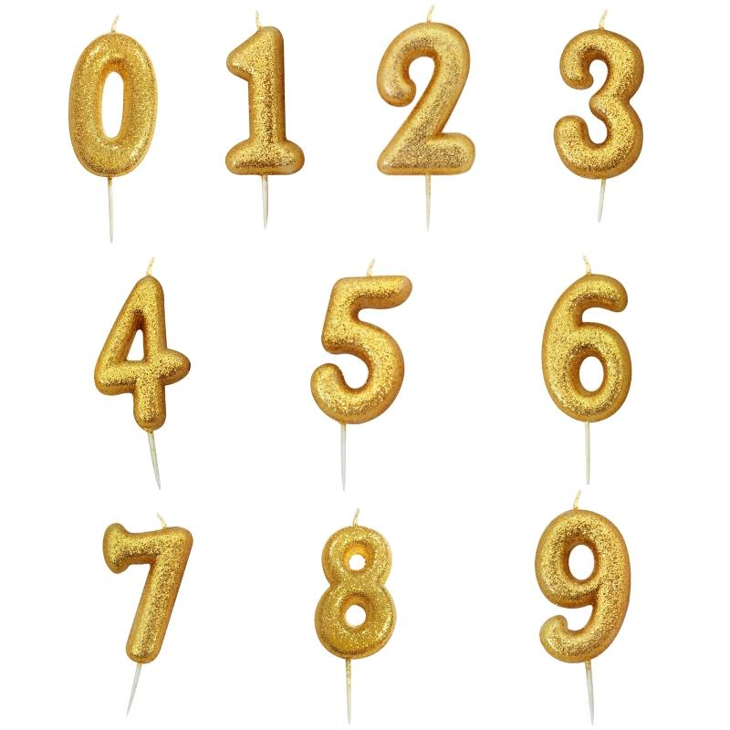 Gold Glitter Number 0-9 Birthday Cake Candle - Choose your Number(s)