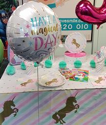 Unicorn Sparkle Table Dressing and Balloons, Coalville