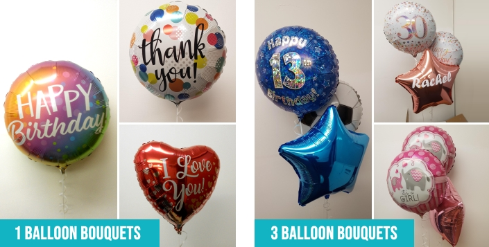 1 and 3 balloon foil balloon bouquets