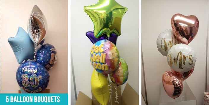 5 balloon foil bouquets