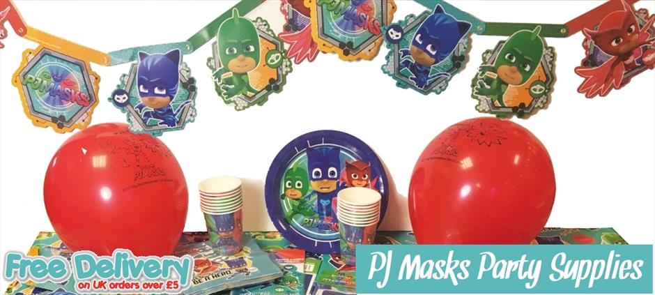PJ Masks Party Supplies | Tablecover | Cups | Plates | Napkins | Banners | Balloons