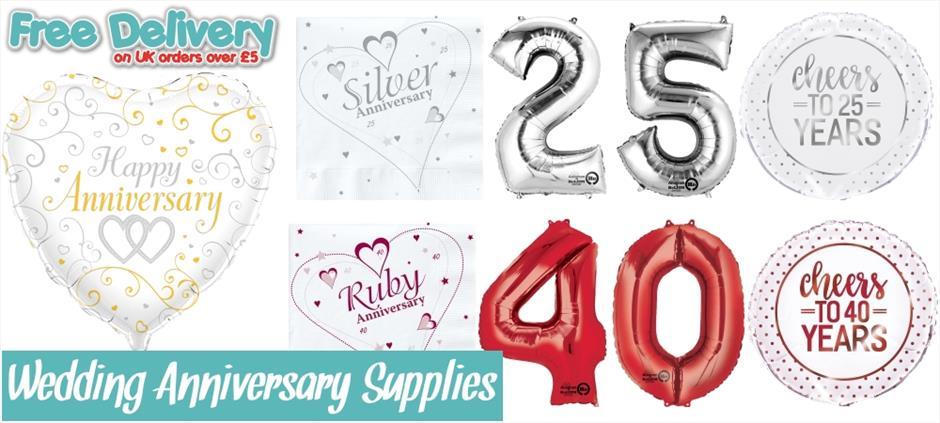 Wedding Anniversary Party Supplies | Ruby | Golden | Silver | Diamond