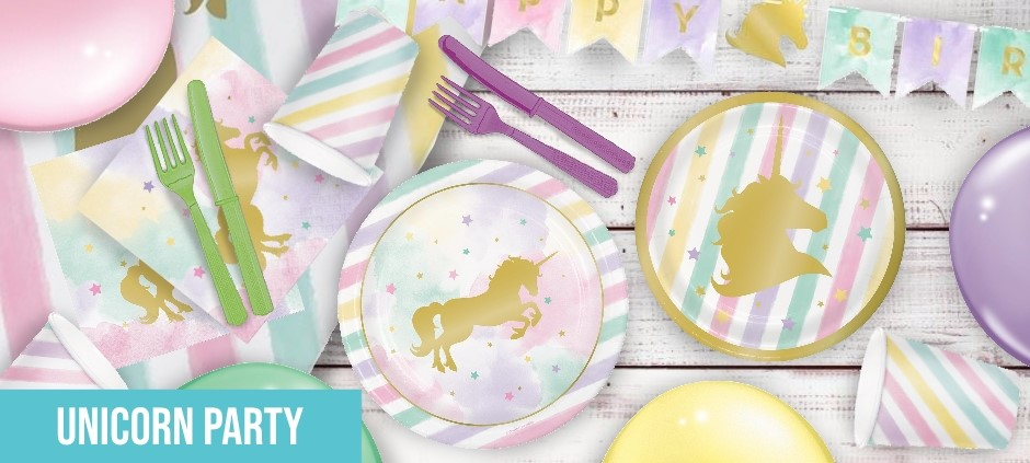 Unicorn Themed Party Supplies | Decorations | Ideas | Packs